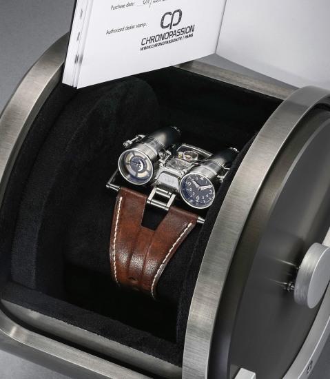 An incredibly original and rare titanium wristwatch with power reserve indicator