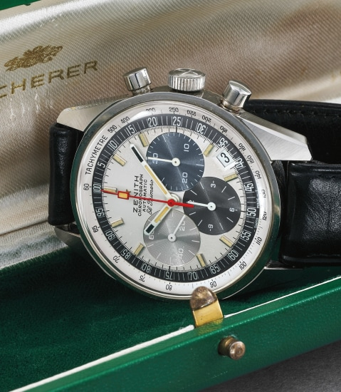 A very fine and rare stainless steel chronograph wristwatch with date and tachymeter scale