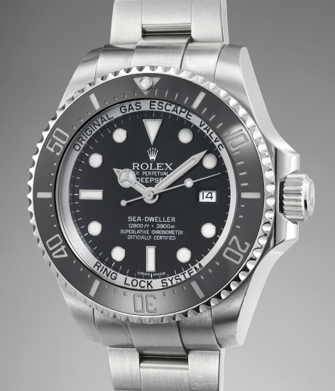 A large stainless steel diver's wristwatch with helium escape valve, ceramic bezel, date and bracelet