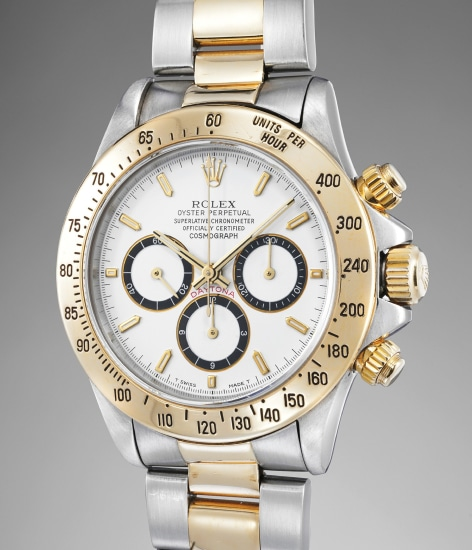 A fine stainless steel and yellow gold automatic chronograph wristwatch with bracelet, Guarantee and box
