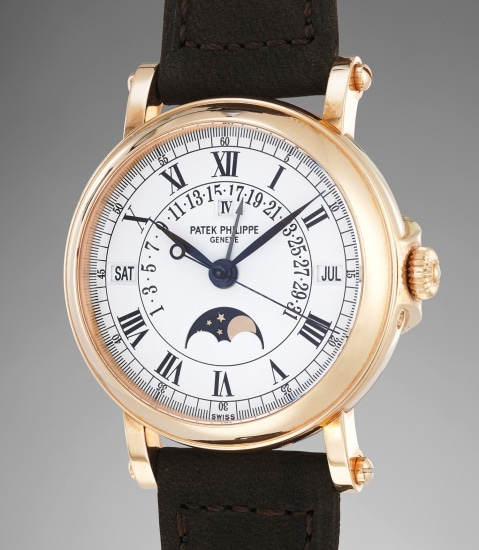 """An attractive and rare pink gold perpetual calendar wristwatch with retrograde date and """"officer""""-style hinged caseback with certificate of origin"""