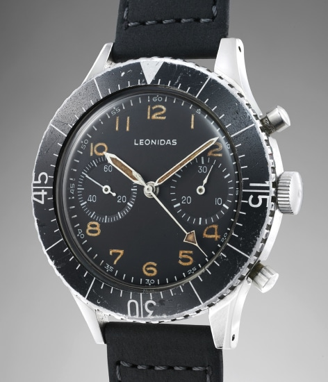 A fine and extremely well-preserved stainless steel chronograph with black luminous dial, made for the Italian Army