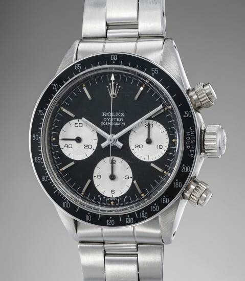 "An attractive and well-preserved stainless steel chronograph wristwatch with black ""sigma"" dial and bracelet"