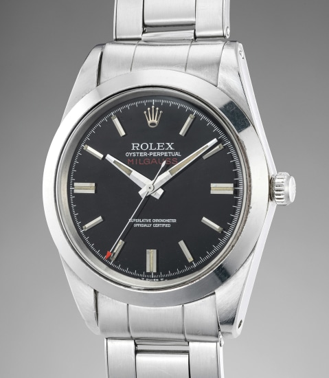 A highly rare and attractive stainless steel antimagnetic wristwatch with black lacquer dial and bracelet