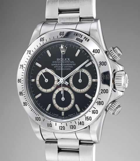 A fine and rare stainless steel automatic chronograph wristwatch with bracelet, guarantee and box