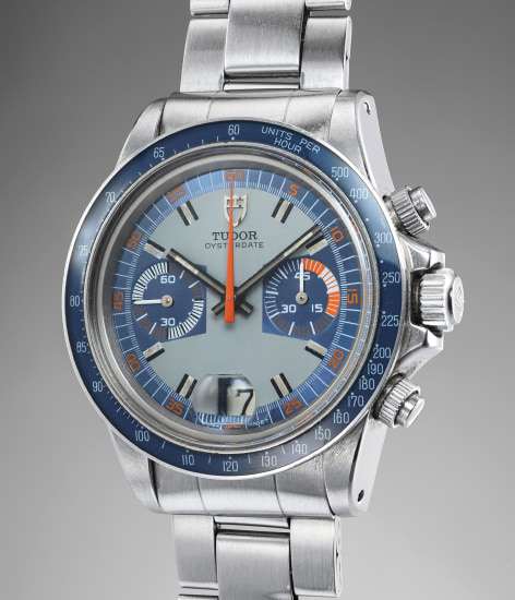 A fine, rare and attractive stainless steel chronograph wristwatch with bracelet