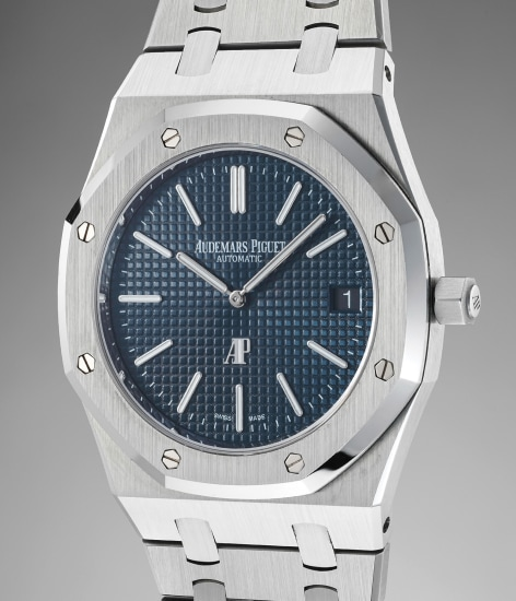 An attractive and fine stainless steel wristwatch with date and bracelet