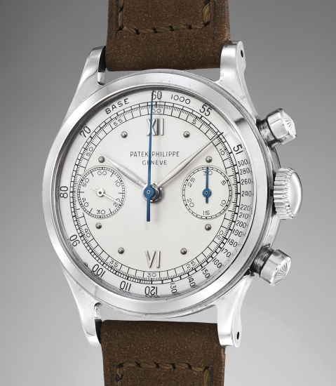 An extremely rare, well-preserved and highly attractive stainless steel chronograph wristwatch with two-tone silvered dial with outer tachymeter scale