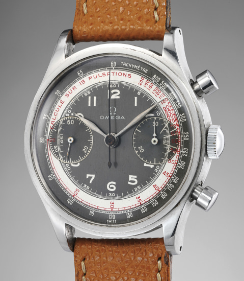 A very charismatic stainless steel chronograph wristwatch with grey dial, tachymeter and pulsometer scales