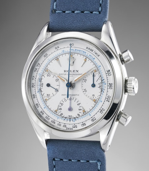 "An elegant and rare stainless steel chronograph wristwatch with ""underline"" dial"