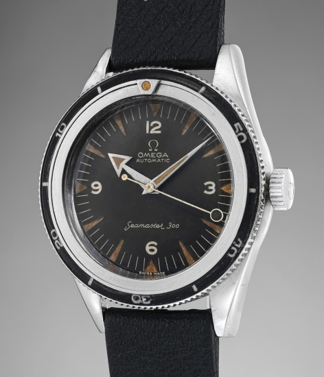 """A highly rare stainless steel diver's wristwatch with """"lollipop"""" center seconds, rotating bezel and """"broad arrow"""" hand"""