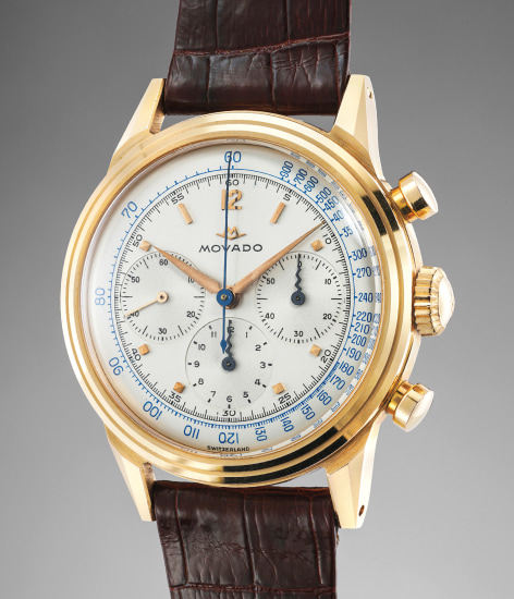 A highly rare, well preserved and attractive pink gold chronograph wristwatch with screw-back case