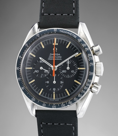 A fine and very rare stainless steel chronograph wristwatch with tachymeter bezel and special orange chronograph hand