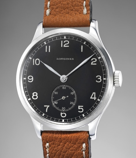 An extremely attractive, large chrome metal wristwatch with black lacquer dial