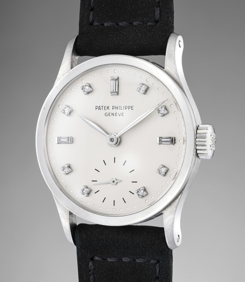 A very rare and fine platinum wristwatch with diamond hour indexes