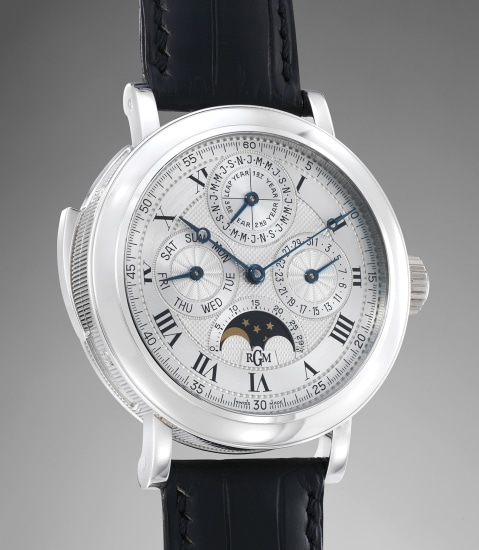 A fine and rare limited edition platinum wristwatch with minute repeater, perpetual calendar with moonphase display