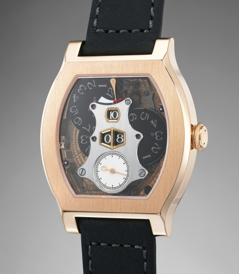 A very fine and rare limited edition jump hour wristwatch with remontoire