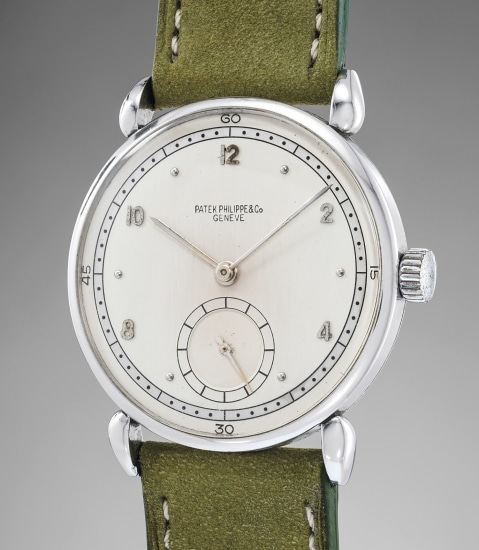 A very rare and attractive stainless steel wristwatch with two-tone dial and teardrop lugs