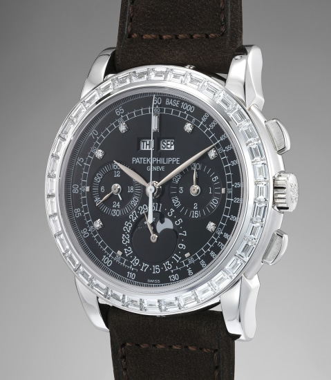 An extremely fine and very rare platinum and diamond-set perpetual calendar chronograph wristwatch with moonphases, leap year indicator, additional case back, original certificate, hang tag and fitted presentation box