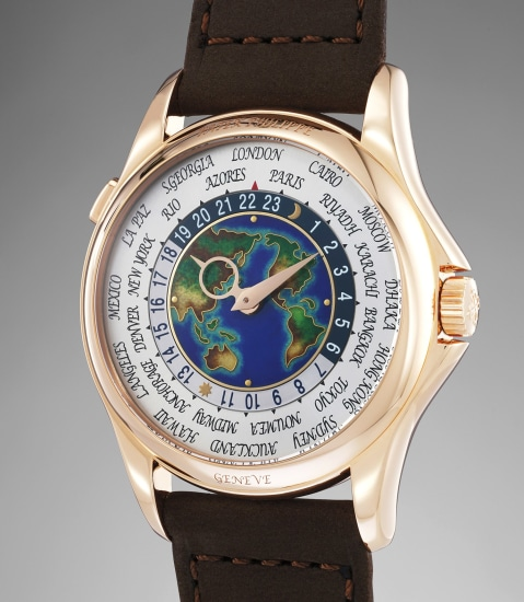 An extremely fine and very rare pink gold world time wristwatch with cloisonné enamel dial, Certificate and box