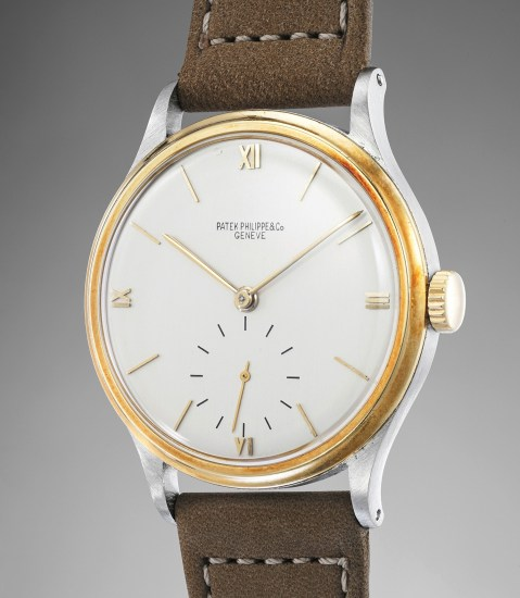A fine, large and very rare stainless steel and yellow gold wristwatch