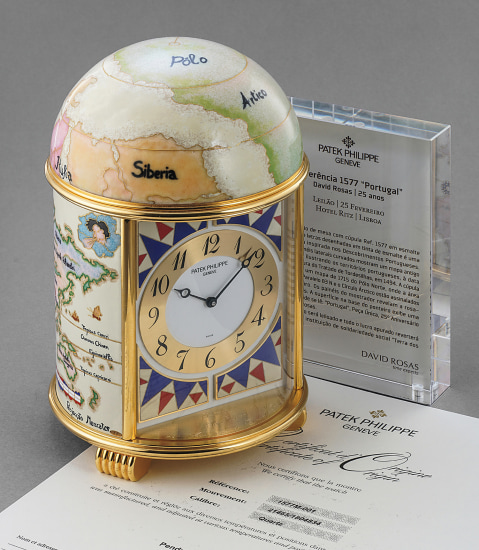 "An attractive and unique cloisonné enamel dome clock displaying ""Portugal"" and presentation box, made for the 25th anniversary of David Rosas"