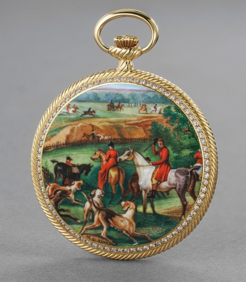 A highly rare and attractive yellow gold, enamel, diamond and sapphire-set openface watch depicting a hunting scene, by NI.GI. Barna