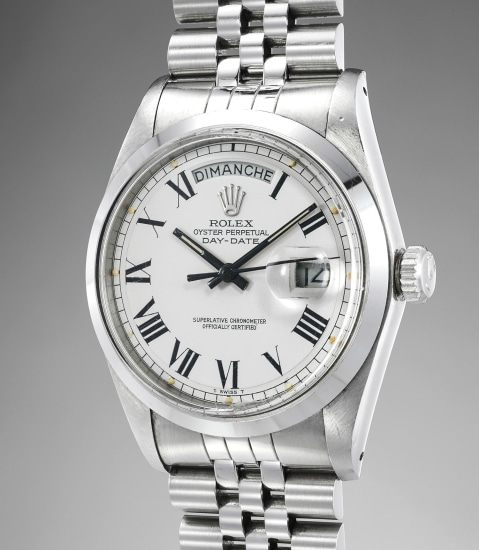 An exceedingly rare and important stainless-steel prototype automatic calendar wristwatch with center seconds and bracelet