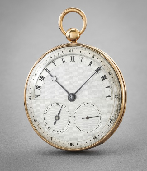 An elegant and unusual retrograde jumping hour yellow gold pocket watch with date