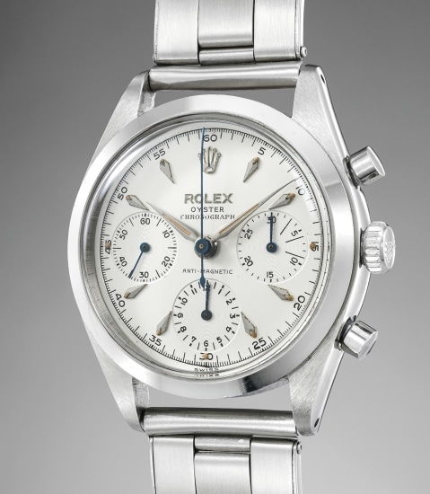 A highly rare, exclusive and exceptionally well-preserved stainless steel chronograph wristwatch with transitional dial and bracelet