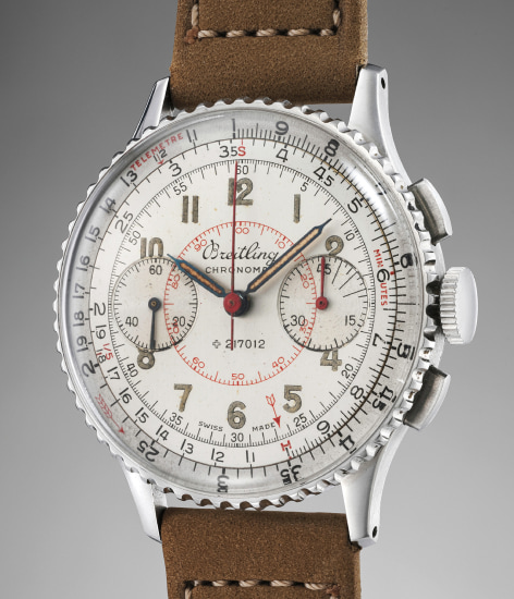 A rare and exceptionally well-preserved stainless steel chronograph wristwatch with two-tone dial