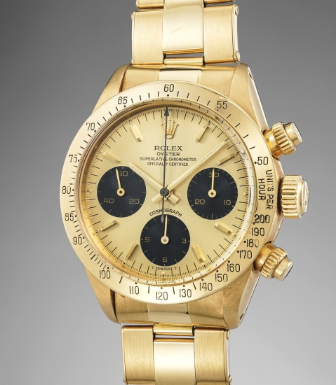 A very rare and attractive yellow gold chronograph wristwatch with champagne dial, black registers and yellow gold bracelet, with original box, papers, invoice and hangtag