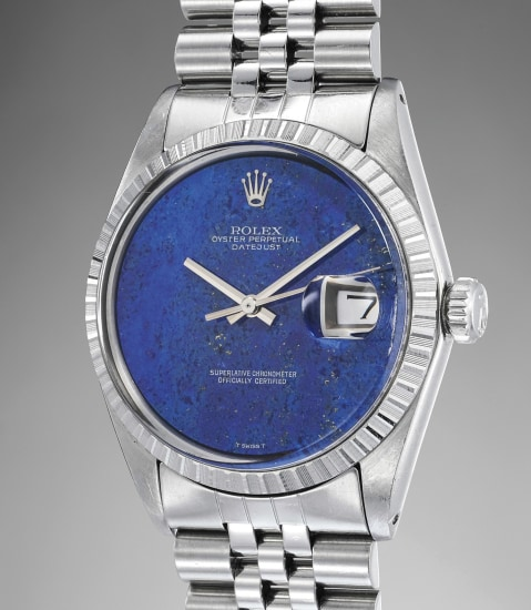 A highly rare and attractive stainless steel wristwatch with date, lapis lazuli dial and bracelet