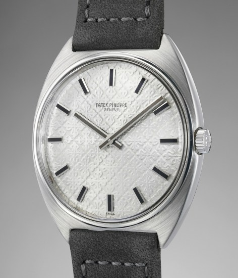 A fine, rare and unusual stainless steel wristwatch with guilloché dial and Certificate