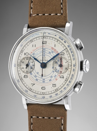 A rare, large and very attractive stainless steel chronograph wristwatch with multi-scale dial, pulsations scale, box and original guarantee