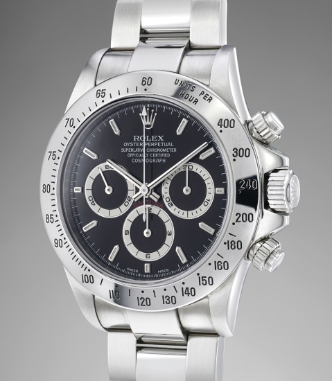 A fine and rare stainless steel automatic chronograph wristwatch with bracelet and Guarantee