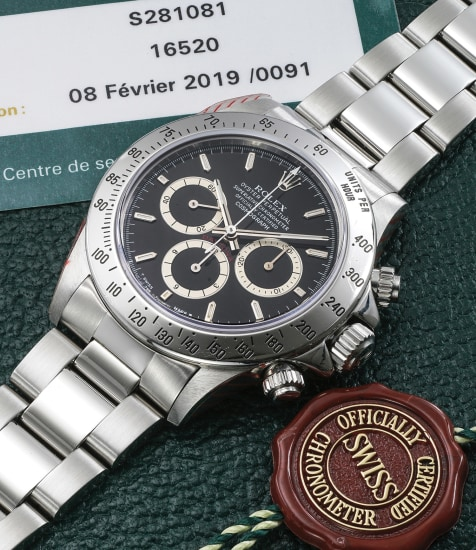 """A fine stainless steel chronograph wristwatch with """"Inverted 6"""" dial, bracelet and box"""