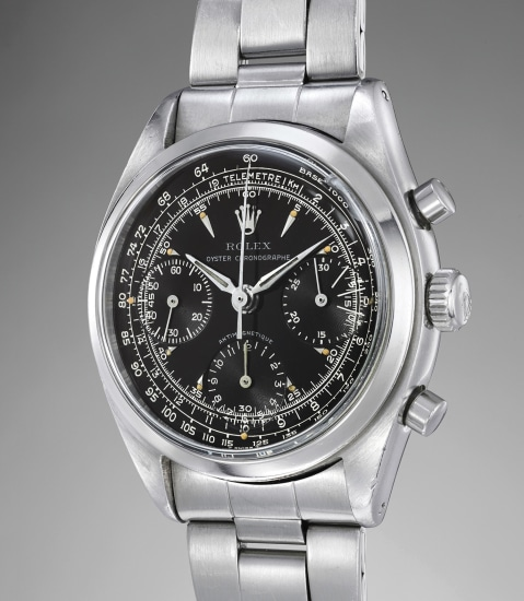 A fine, extremely rare and enormously attractive stainless steel chronograph wristwatch with black gloss dial and bracelet
