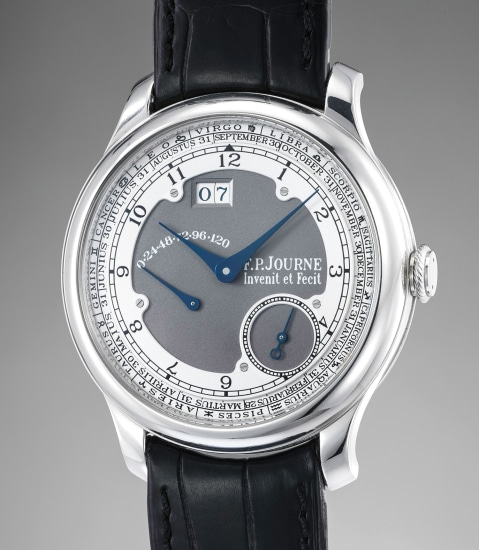 A very attractive limited edition platinum wristwatch with date, power reserve, month and zodiac indications
