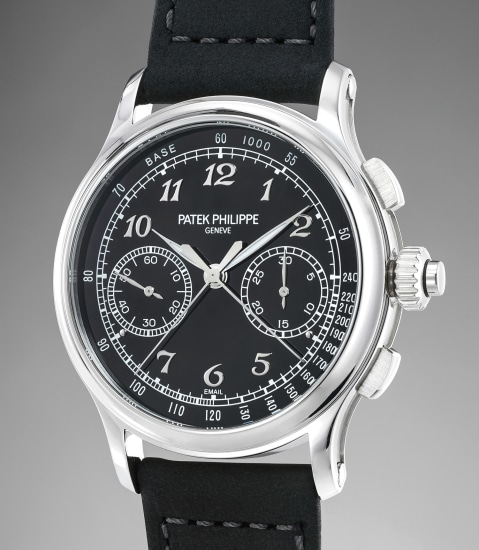 A very attractive and rare platinum split seconds chronograph wristwatch with black enamel dial, Breguet numerals and Certificate