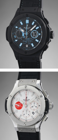 "A set of two attractive chronograph wristwatches, one in black ceramic made in tribute to Diego Maradona the other in stainless steel and ceramic made for the ""Association Suisse de Football"""