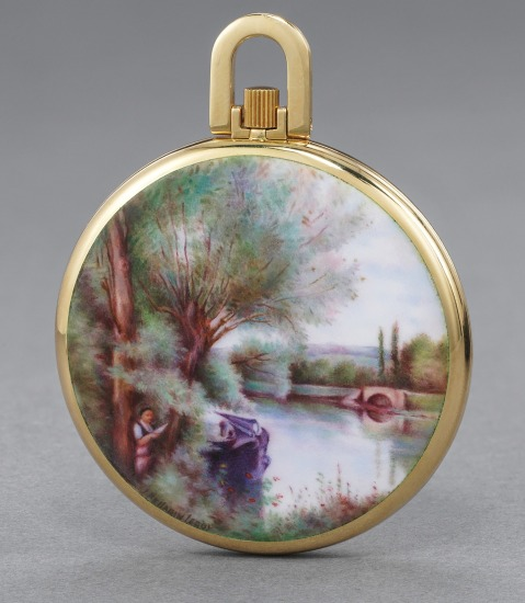 """An extremely attractive and unique yellow gold openface watch with enamel miniature """"La Liseuse sur la Rive Boisée"""" after Jean-Baptiste-Camille Corot by L. Pellarin-Leroy"""