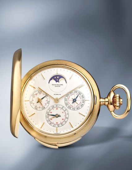 An extremely rare and highly attractive yellow gold hunter case minute repeating perpetual calendar pocketwatch with moonphases and 24-hour indication