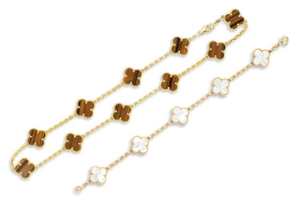 A Tiger's-eye 'Alhambra' Necklace; and a Mother-of-Pearl 'Alhambra' Bracelet, Van Cleef & Arpels