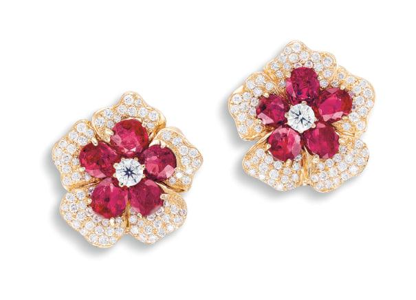 A Pair of Ruby and Diamond 'Flowerhead' Ear Clips
