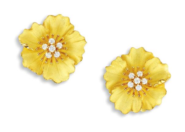 A Pair of Karat Yellow Gold and Diamond Ear Clips, Tiffany & Co.
