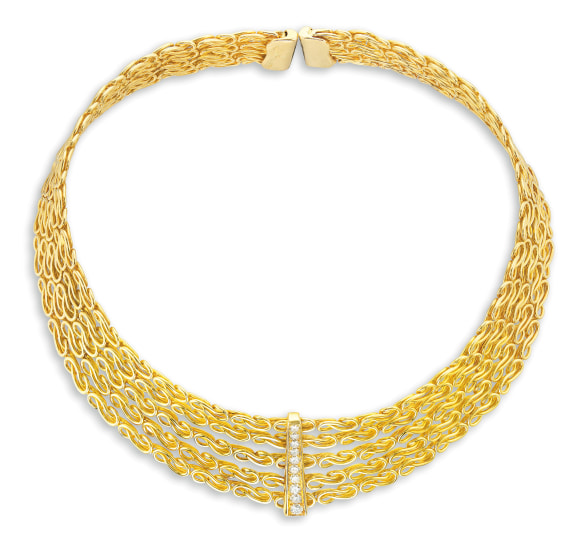 A Karat Gold and Diamond Collar Necklace, Hermès