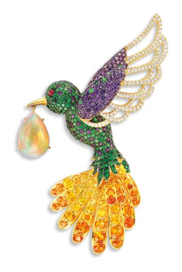 A Gem-set, Diamond and Opal 'Humming-bird' Brooch, Stewart Young