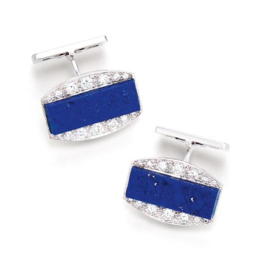 A Pair of Lapis Lazuli and Diamond Cufflinks