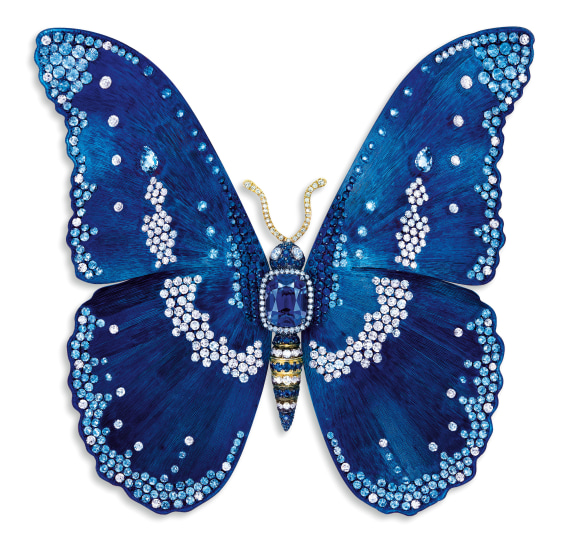 A Blue Spinel, Sapphire and Diamond 'Butterfly' Brooch